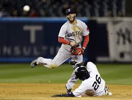 Red Sox All Star second baseman Dustin Pedroia turns two in a victory against the Yankees Media by blogs.eagletribune.com