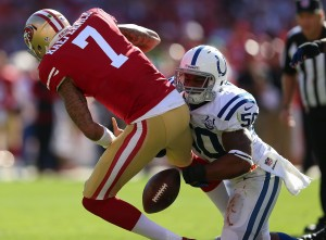 Kaepernick fumbles in a week 3 loss to the Colts. Photo by Jed Jacobsohn/Getty Images