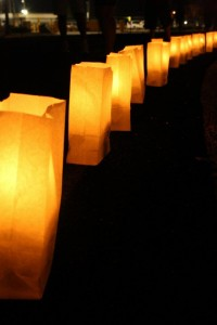 Candle lit luminarias represent those who have passed away from breast cancer and those who are battling it. Photo taken by Fallyn Paruleski.