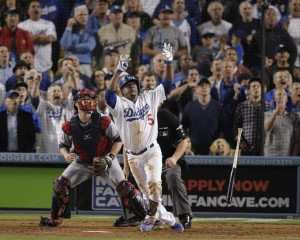 Juan Uribe blasts a game winning homer to send the Dodgers to the NLCS Media by news.yahoo.com