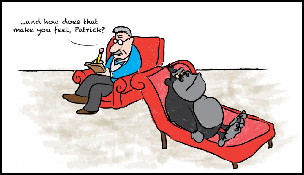 Patrick the gorilla talks with a therapist. by Mikey Courtney