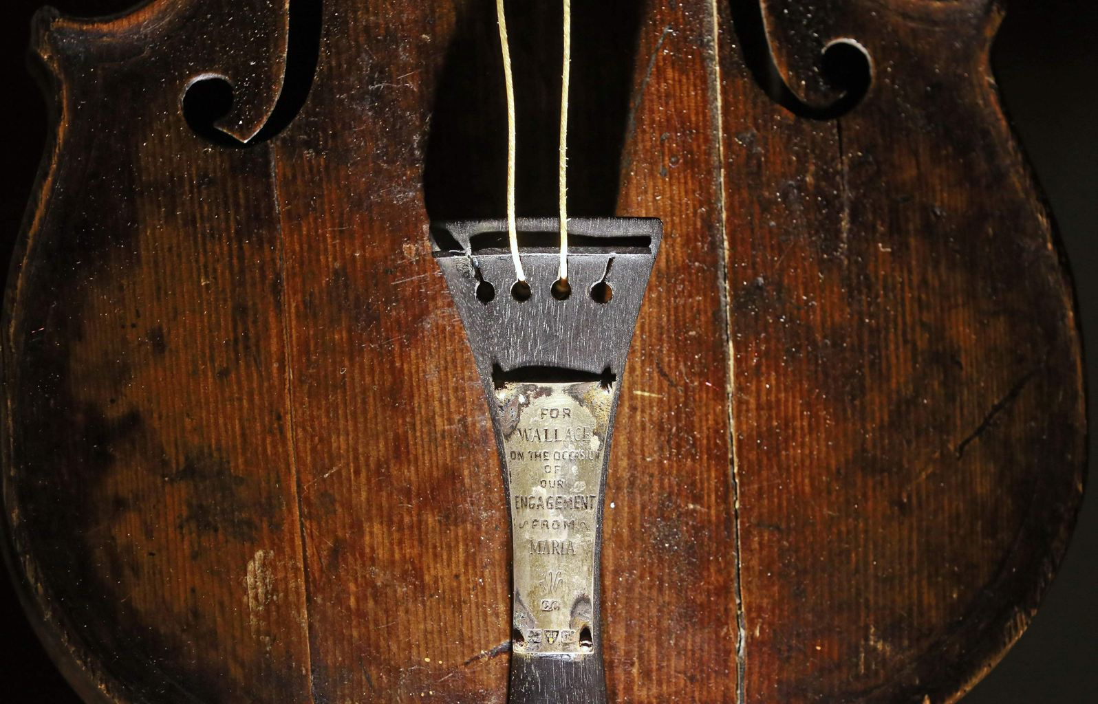 The violin belonging to Titanic bandmaster Wallace Hartley actually looks pretty creepy on display at the Titanic Belfast Centre. Photo from Reuters.com