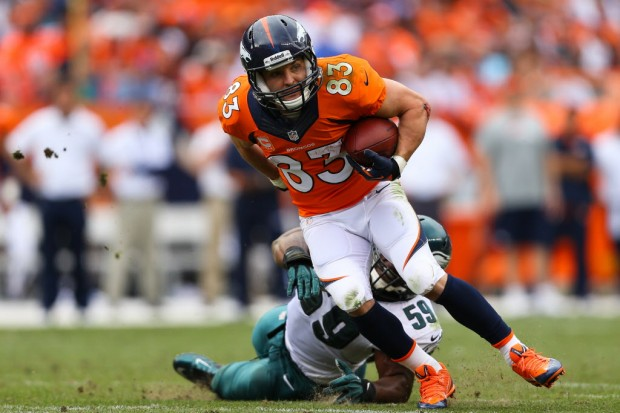 Wes Welker left the Patriots to join Denver, and has been a valuable target for Manning all season. Media by cowboysblog.dallasnews.com