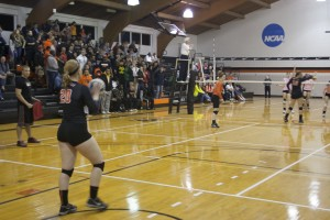 Crowd anticipates Nicole Schaefer's serve! photo by Ryan St.Hill