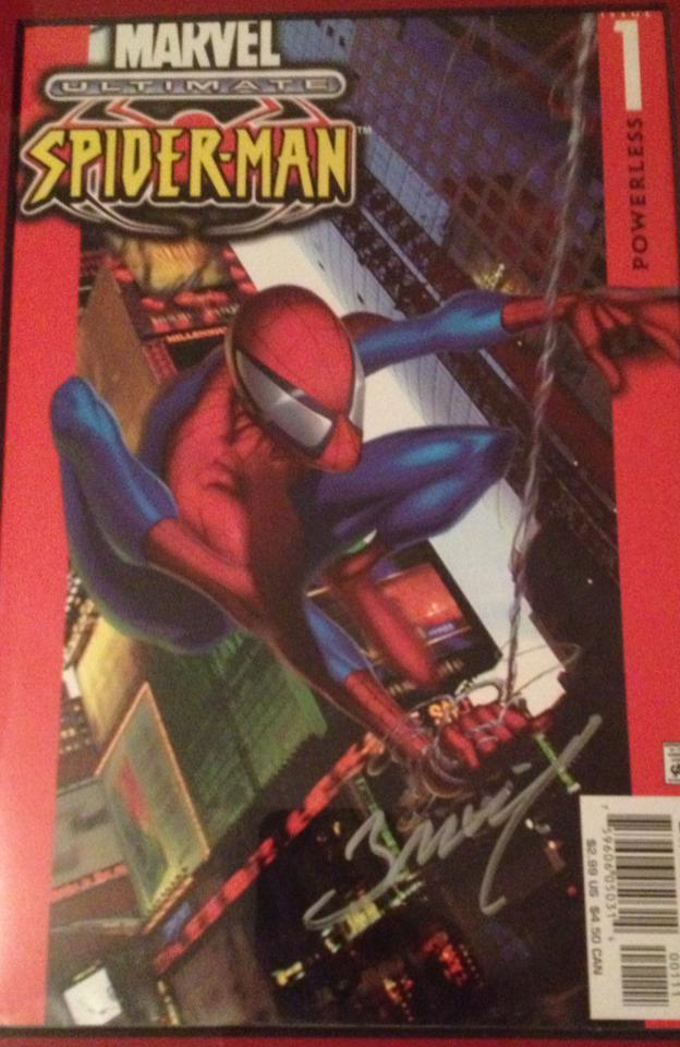 Copy of Ultimate Spider-Man #1 signed by artist Mark Bagley. Photo by Tyler Lamb.