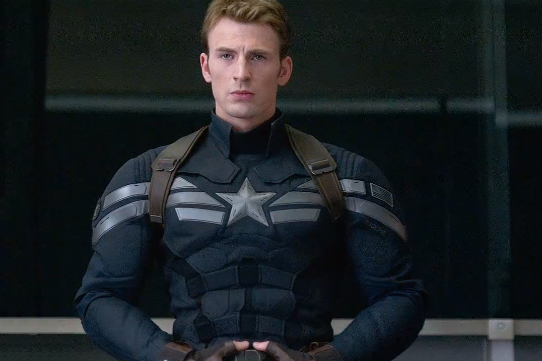 Chris Evans in the new Captain America suit. From mtv.com
