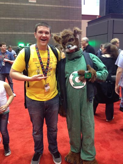 Me with a cosplayer dressed up as the Green Lantern G'nort. Photo taken by a random passerby.