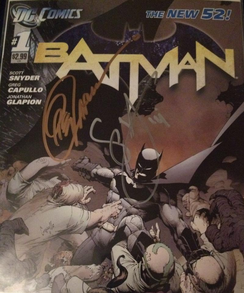 Copy of Batman #1 signed by artist Greg Capullo and writer Scott Snyder. Photo by Tyler Lamb.