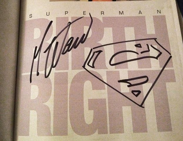 Best Superman story, Birthright, signed by writer Mark Waid. Photo by Tyler Lamb.
