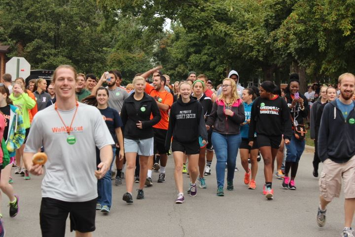 Students beginning to walk from Greenville college's Whitlock music building. Photo provided by Greenville College Student Associations