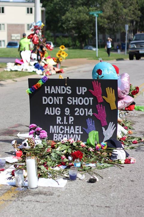 Where he fell. Mike Brown memorial site. Media from Andrea Freeman.