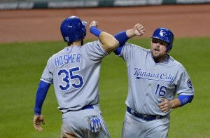 Billy Butler and Eric Hosmer celebrate homerun. Media by kckingdom.com