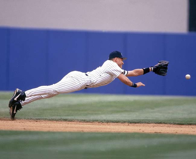 Jeter diving for the ball. Source: ktran96.files.wordpress