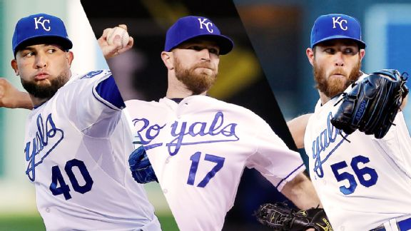 Kelvin Herrera, Wade Davis, and Greg Holland may be the best back end of a bullpen in baseball history. Media by espn.go.com