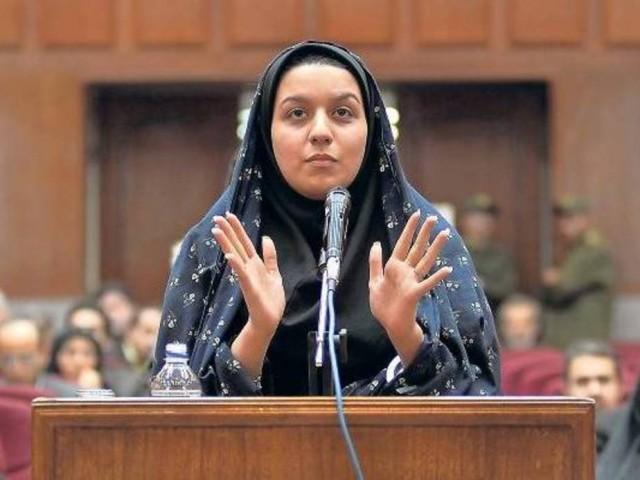 Reyhaneh Jabbari  talking in the trial. Source: www.iraqinews.com