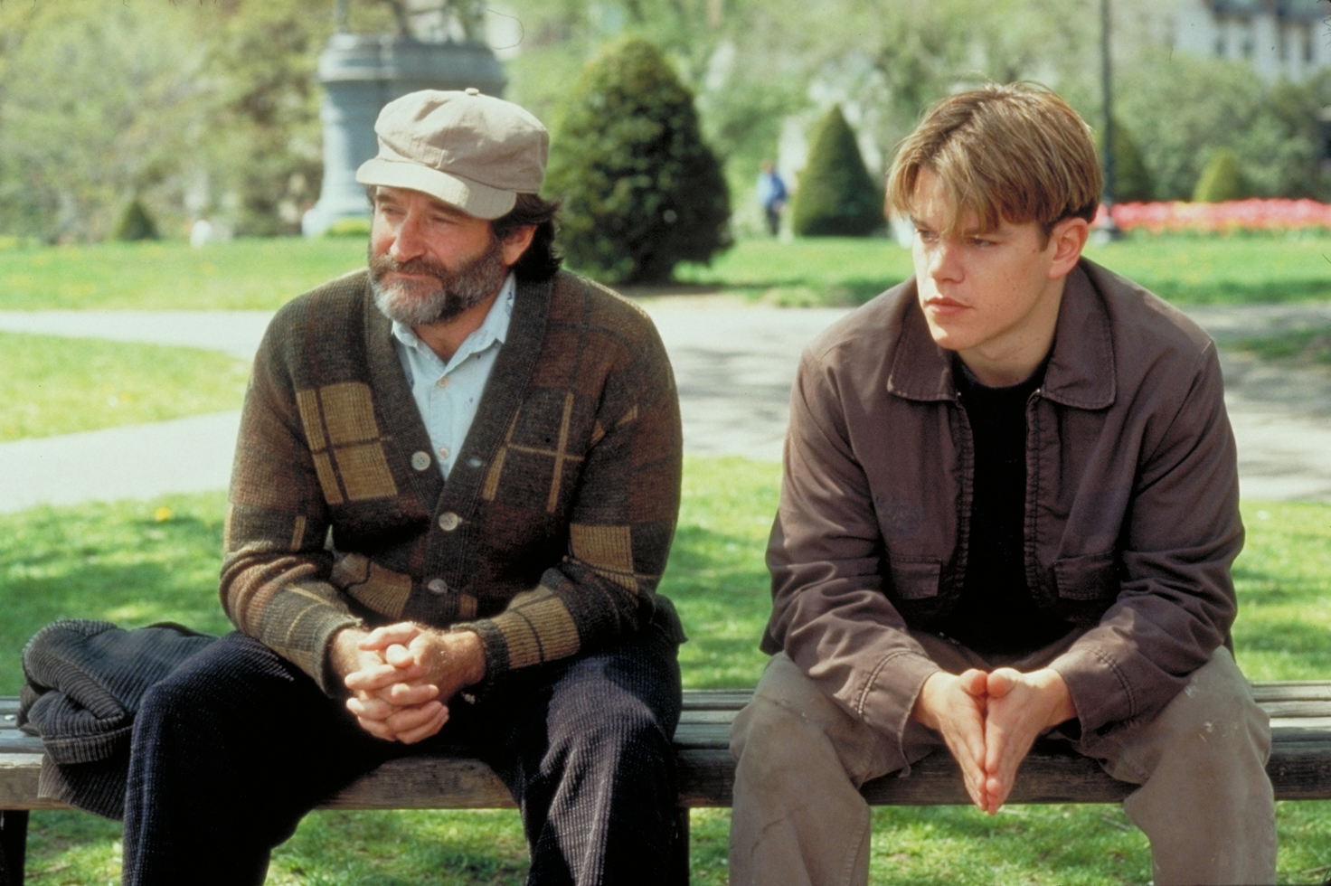 Robin Williams and Matt Damon in Good Will Hunting. Source: www.hecatholiccatalogue.com