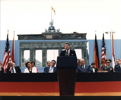 President Reagan giving the speech near Berlin Wall Source: en.wikipedia.org