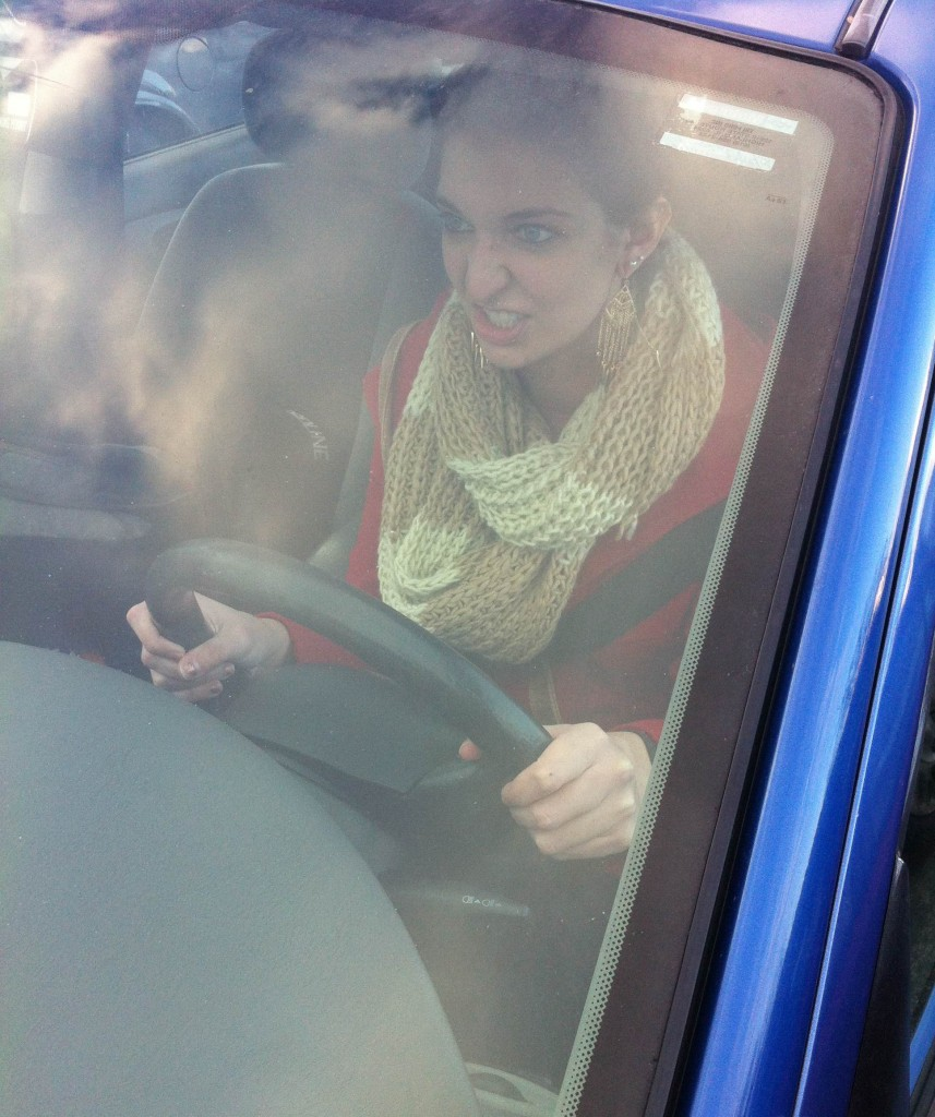 Kelsey Neier practices her   road rage for Black Friday. Source: Thomas Hajny