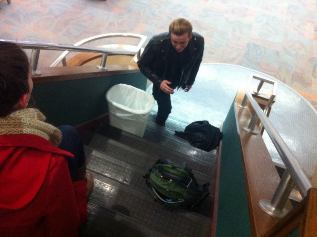 There are no escalators on campus so Luke Cottingham improvises Source: Thomas Hajny
