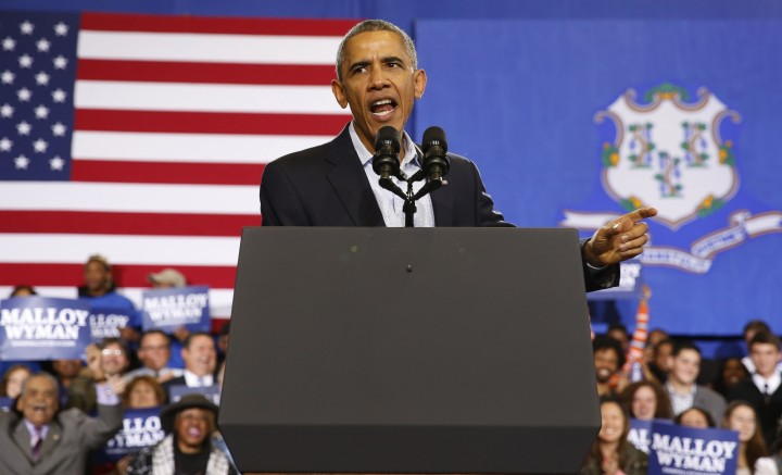 President Obama speaking at a campaign event in Connecticut. Source: www.ibtimes.co.uk