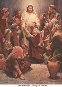 Disciples with Jesus after the Ressurection.