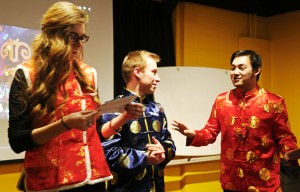 Albert, Rachel and Brent asking questions about Chinese Spring Festival. Photo by Jack Wang