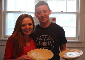 Alex and Kaylee enjoying cooking Chicken pot pie together. Photo by Jack Wang.
