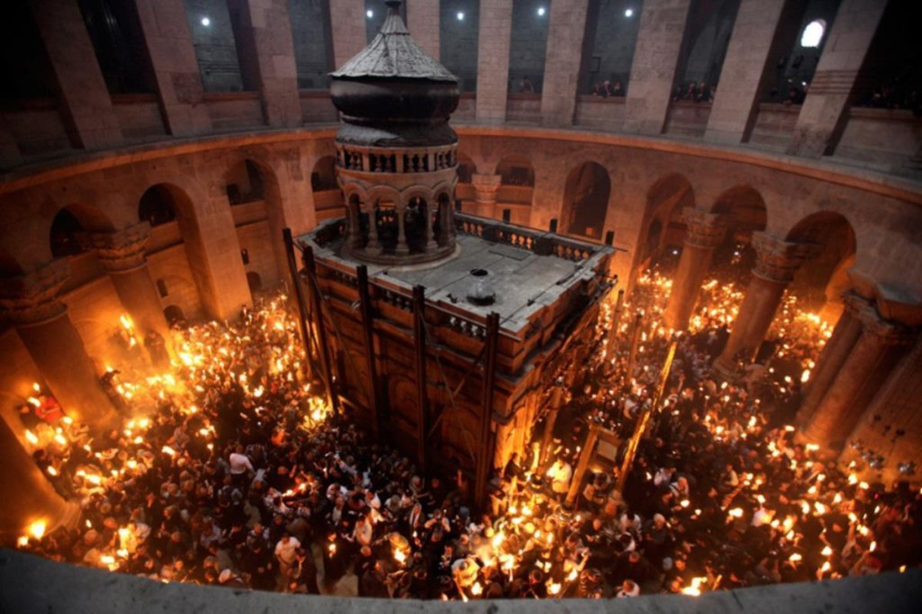 The ceremony of the holy fire located in the church of the holy Sepulcher in Jerusalem. Source:http://greatinspire.com/