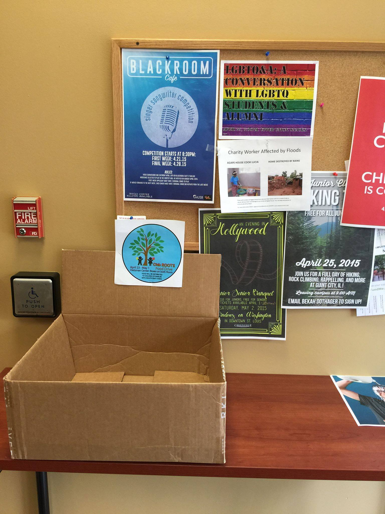 Club ROOTS food drive box located on the first floor under the bulletin board in Dietzman.