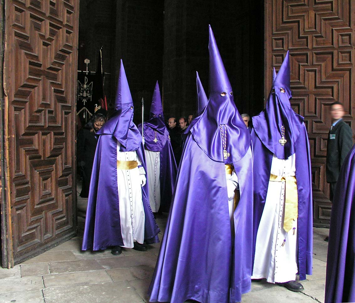 Capirotes (clocks and hoods) are worn during Holy Week processions in Spain. Source:http://en.wikipedia.org/wiki/Holy_Week_in_Spain
