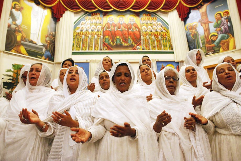 Ethiopians celebrating Easter inside their Orthodox church.