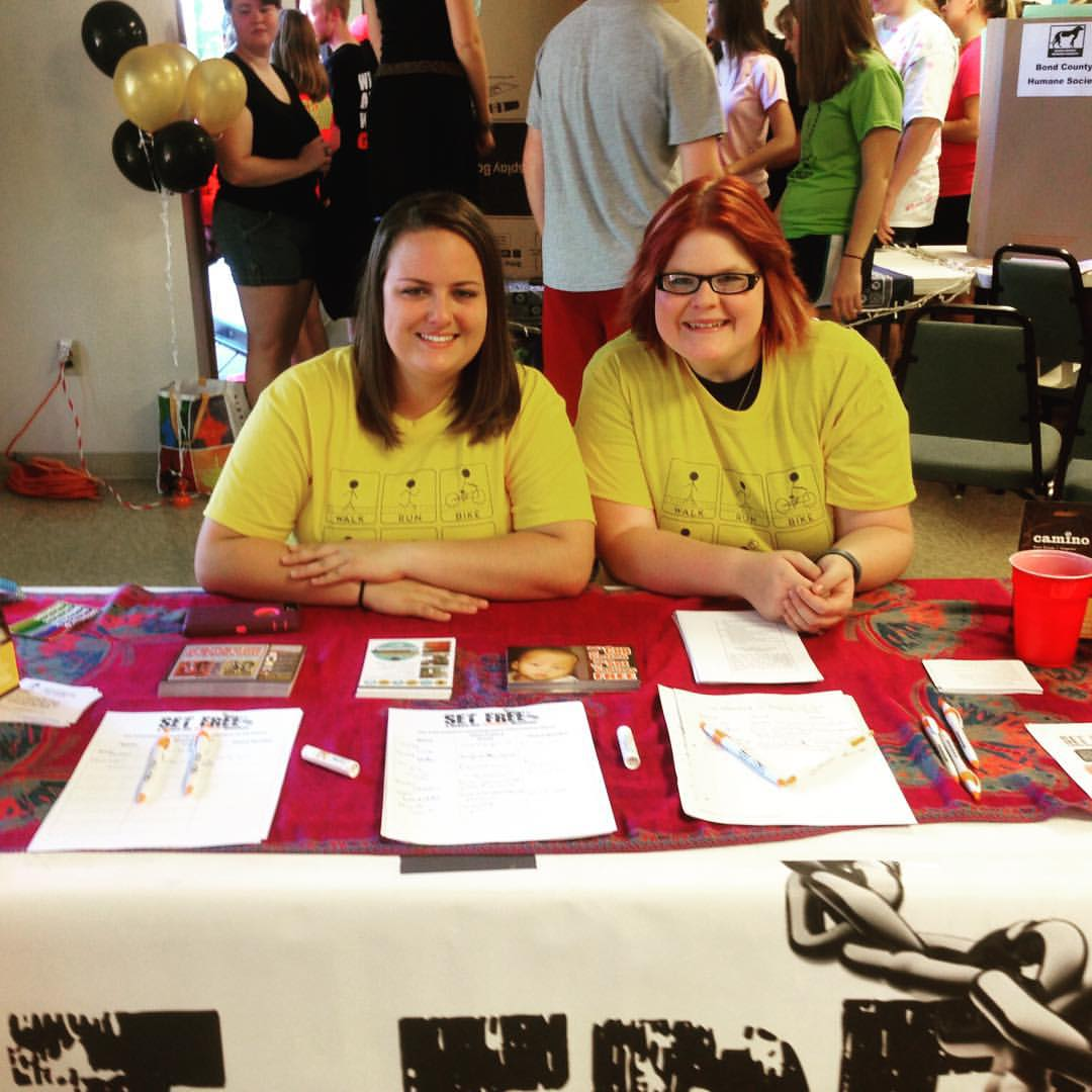 Megan Flaherty and Autumn Hartman at The Set Free Movement's booth during the All College Hike. Source: https://www.facebook.com