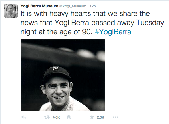 From the Yogi Berra Museum Twitter