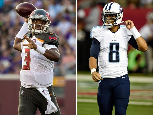Rookie Quarterbacks Jameis Winston (left) and Marcus Mariota (right) in their new uniforms via indystar.com