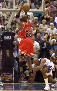 Jordan hits his famous game winner over Bryon Russell to defeat the Utah Jazz in the NBA Finals.  Image from deseretnews.com