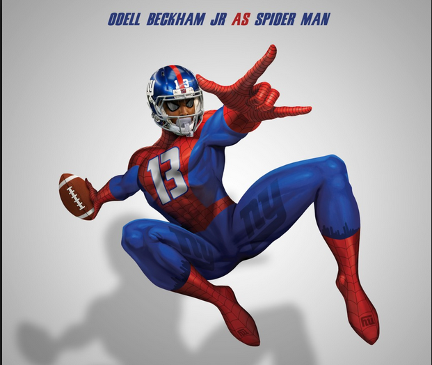 Odell Beckham Jr as Spiderman via sportsmedia101.com