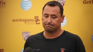 LOS ANGELES, CA  AUGUST 25, 2015 -- USC football coach Steve Sarkisian addresses the media Tuesday morning, August 25, 2015, about his behavior and language during a booster event on campus Saturday night. (Al Seib / Los Angeles Times)