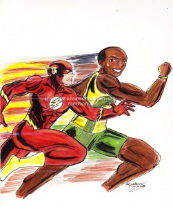 Usain Bolt racing The Flash via comicvine.com