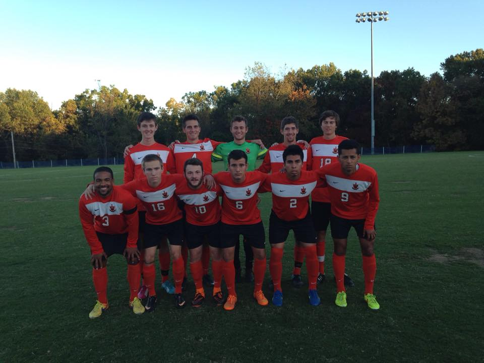 Greenville Men's Soccer before the game against Principia. Image by Greenville Men's Soccer Facebook Page.