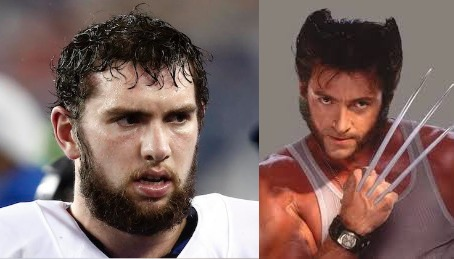 Andrew Luck and his doppleganger Wolverine via usatoday.com and wordbypicture.com