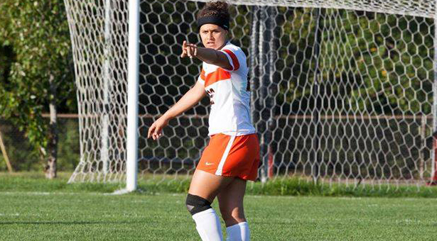 Captain, Tymber Gabbert calling the shots on the field Image from Greenville Women's Soccer page