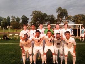 Starters for the Men's soccer team at Greenville College. Image from Greenville College Men's Soccer Facebook.