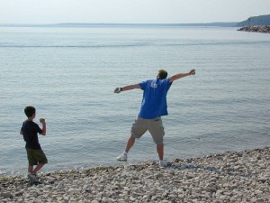 Stone-skipping has evolved from a leisure activity to a competitive sport.  Image from mackinacblog.com