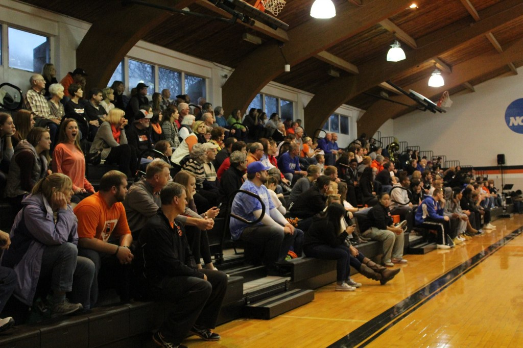 A loud crowd was on hand in HJ to witness the Lady Panther's victory.  Photo by WGRN radio