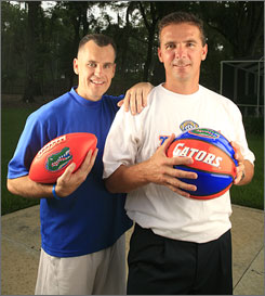 Billy Donovan and Urban Meyer at Florida. Image from www.gatorzone.com