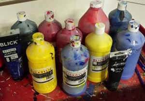 different paint bottles.
