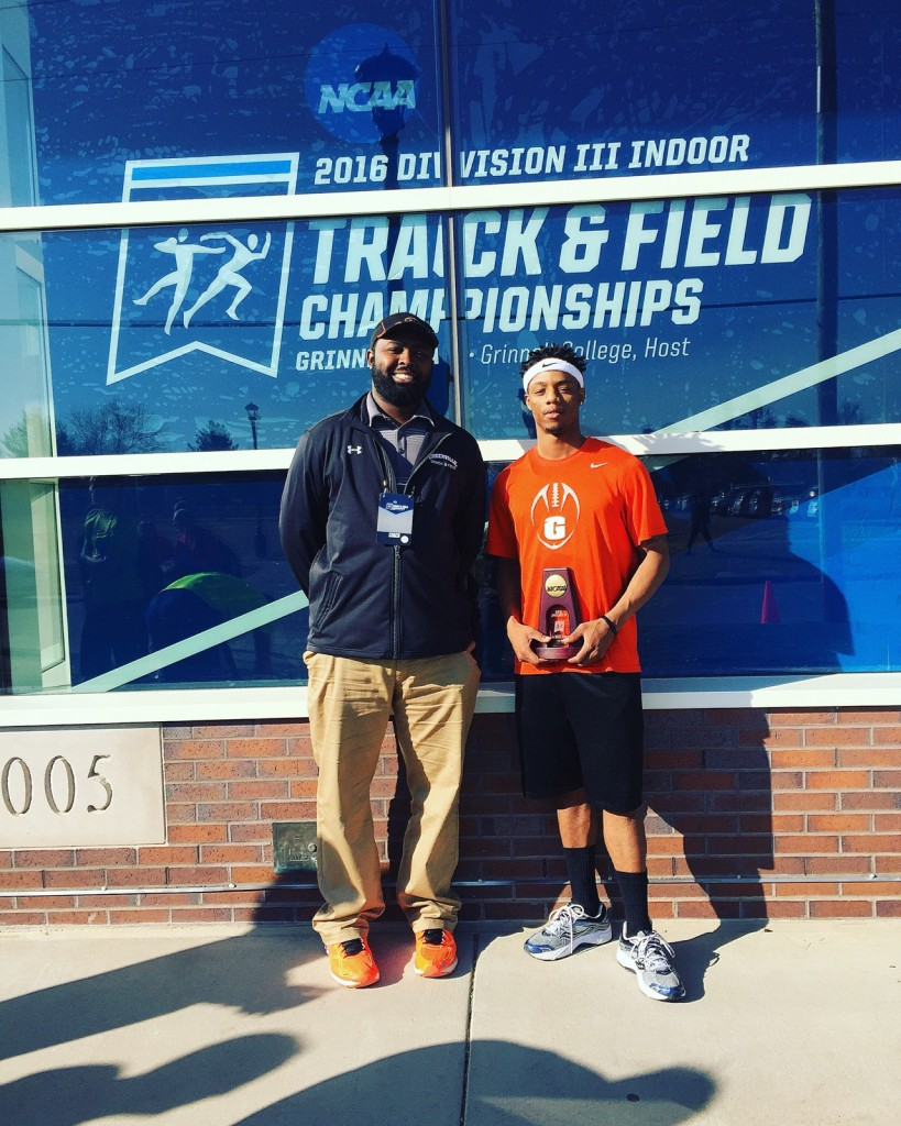 Jarrid Williams and Coach Easley at the Division III Nationals. Image from Jarrid.