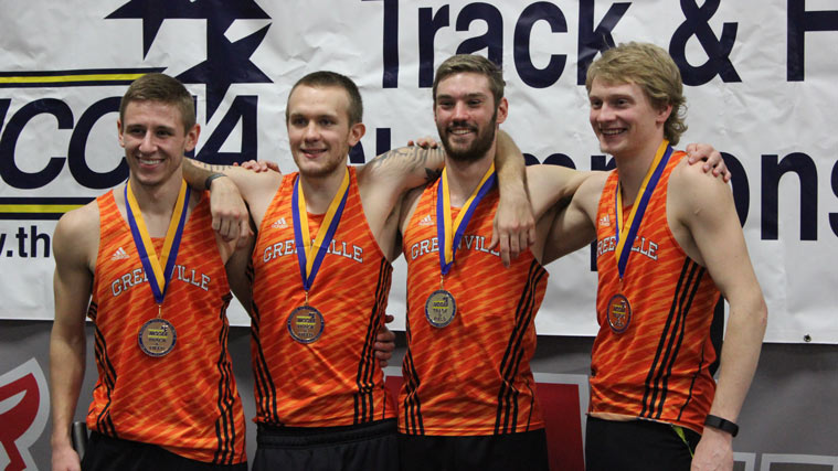 The 4 by 800 meter relay team Parker was a part of. Image from Greenville College