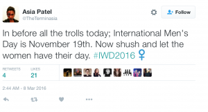 twitter post about international men's day