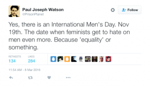 tweet about international men's day